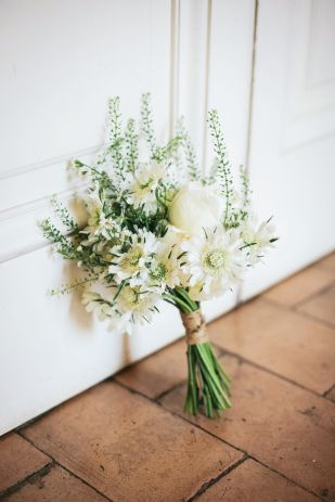 Bouquet champêtre fleur blanche et verte