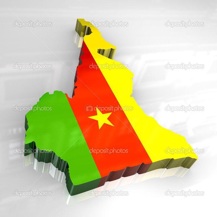 3D carte de drapeau du Cameroun — Photographie fambros © #4625546