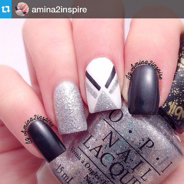 Instagram media by nailpromote - #Repost @amina2inspire・・・Solo shot of my #bestietwinnails with my sweet friend sabrina @ssunnysideup I'm loving this color combo. Products used are all @opi_products 'Alpine Snow' (white), 'It's Frosty Outside' (silver), and '4 in the Morning' (satin black). Have a happy sunday!  Español..... La foto individual de mis uñas gemelas con mi amiga sabrina @ssunnysideup Me encanto esta combinación de colores. Los productos que use son @opi_products 'Alpine Snow'…