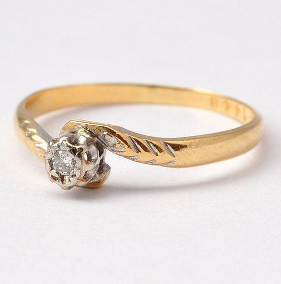 Bague en diamant : Antique 18K Gold & Platinum par BlueRidgeNotions