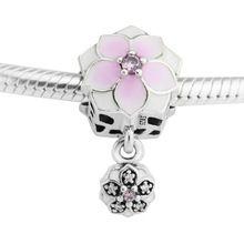 Serve para charms pandora pulseiras de contas flor magnólia com cerise pálido esmalte 100% 925 esterlina-prata-jóias grátis grátis(China (Mainland))