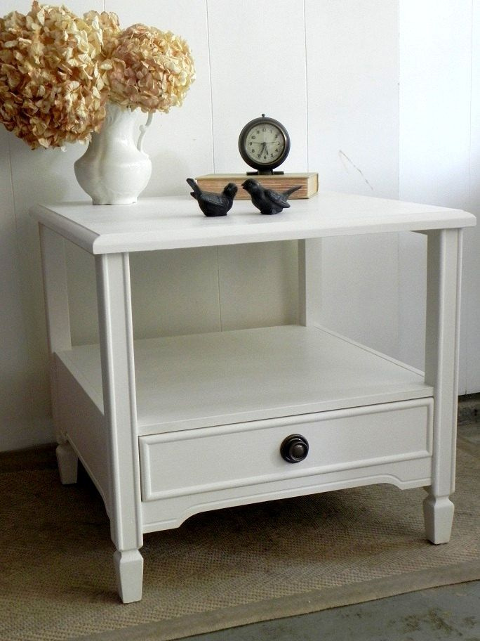 Country Furniture Cottage Style Rustic Coffee End Table 1 Drawer White Bedside Table Bedroom