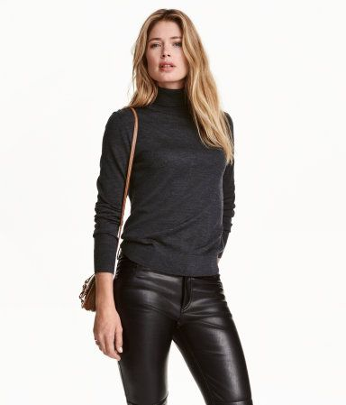 Merino Wool Turtleneck Sweater | Dark gray melange | Ladies | H&M US