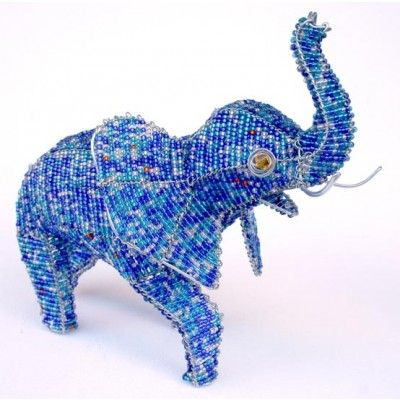 Elephant Wire Art Beaded Sculpture