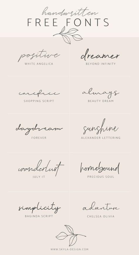 Handwritten free fonts | post by Skyla Design #fon… – #design #fon #fonts #Fre…