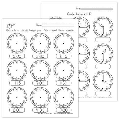 Fichiers PDF téléchargeables En noir et blanc seulement 2 versions offertes Cet exercice d'une page vise à ce que l'élève soit capable de lire une heure représentée et qu'il soit en mesure de dessiner une heure demandée.