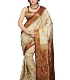 Buy Off White and Maroon woven art_silk saree with blouse kanchipuram-silk-saree online