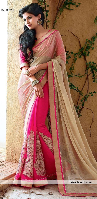 Charming Beige & Dark Pink Chiffon & Georgette Party Wear Saree