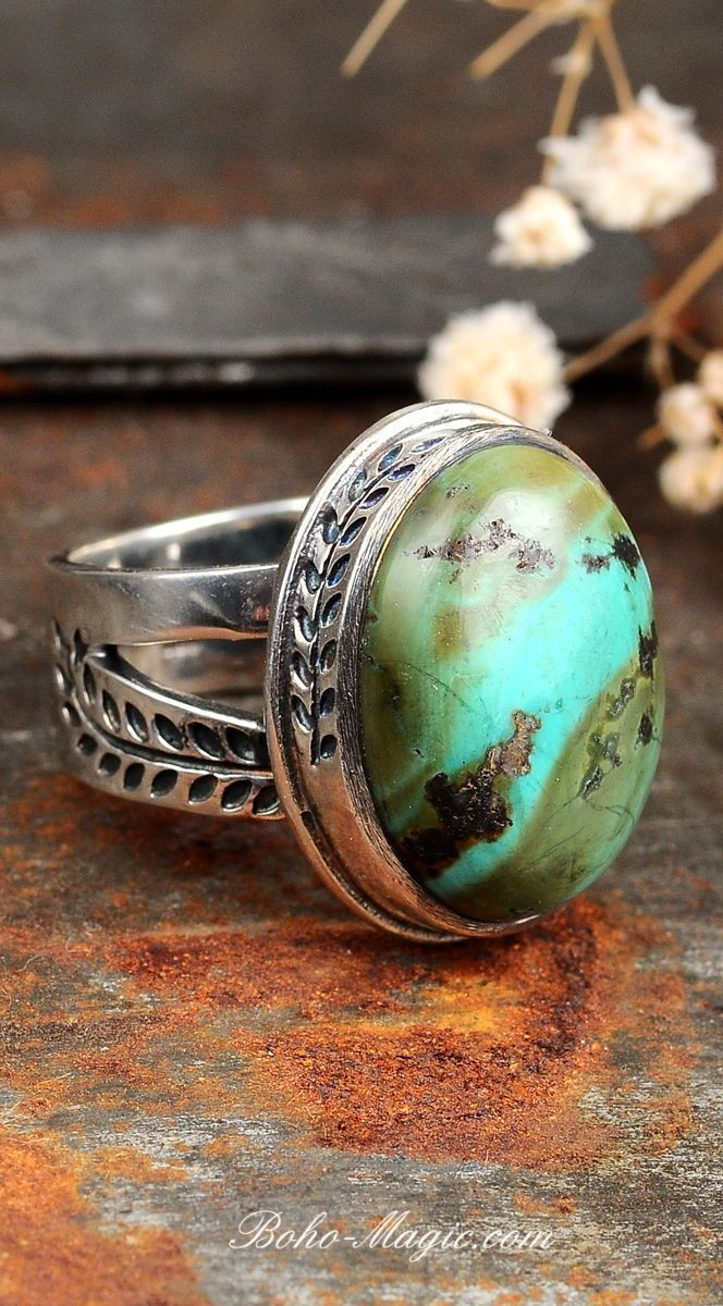 Nature autumn Turquoise ring. Sterling silver statement boho rings. Turquoise jewelry,  bohemian rings. Big large stone chunky rings.  fashion jewelry rings, statement jewelry