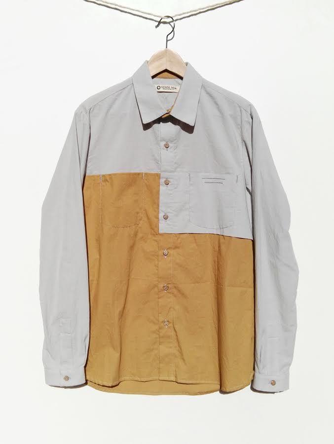 Camisa mostaza y gris de algodón organico 110,00€