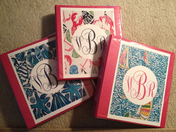 Cute ways to decorate binders by using your loved ones initials.- rho gam binder anyone?