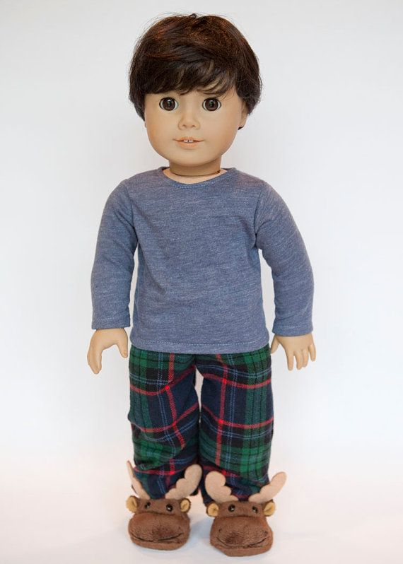American Boy doll pajamas with slippers  plaid by EverydayDollwear