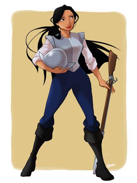 Pocahontas as John Smith - Pocahontas   13 Disney Heroines Swap Clothes With Their Heroes
