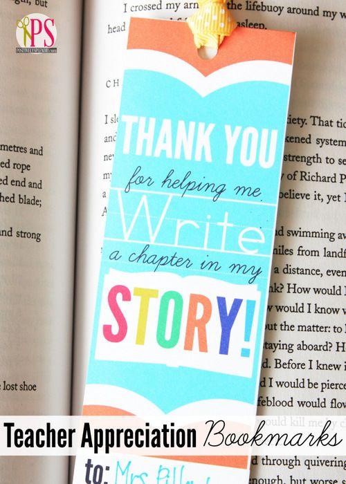 Teacher Appreciation Bookmark free printable