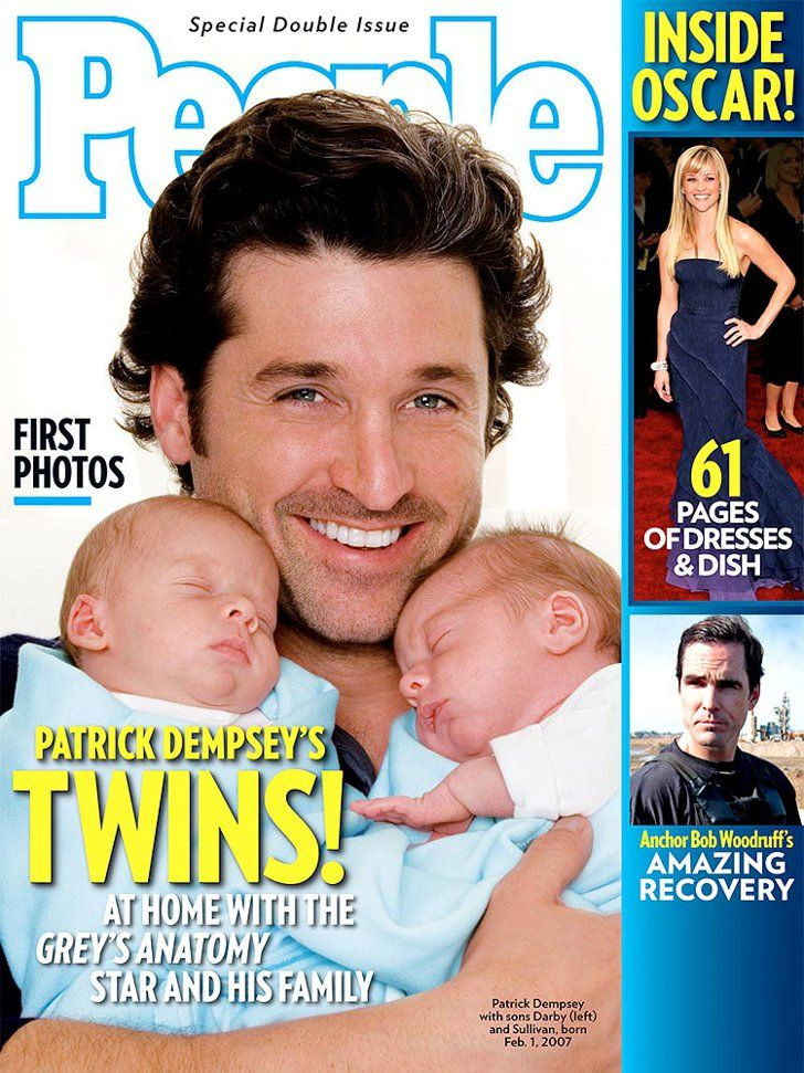 Pin for Later: Jillian Harris Shows Off Her Newborn Baby Boy With an Adorable Instagram Snap Sullivan Patrick and Darby Galen Dempsey Patrick Dempsey showed off his twins on the cover of People.