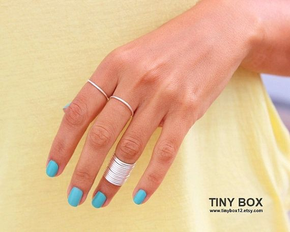 12  Stacking Rings - Knuckle Rings - Thin Knuckle Rings - Silver  thin rings -  Above Knuckle Ring -  stack midi rings set of 12 by Tiny Bo on Etsy, $19.99
