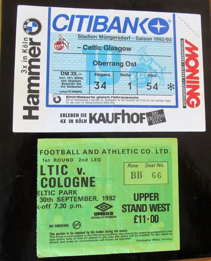 CELTIC FC V COLOGNE HOME + AWAY TICKETS IN EUROPE 1992/93 SEASON