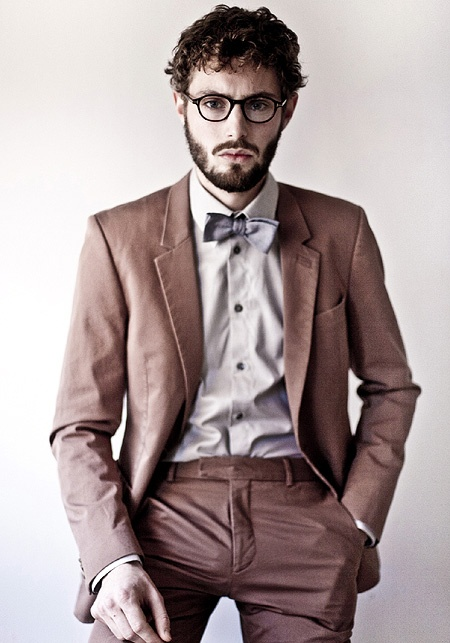 : Fashionably Male, Bow Ties, Beige Suits