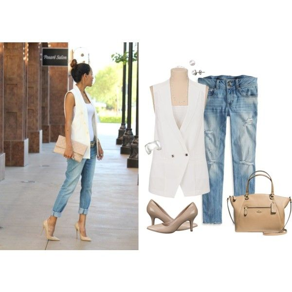 White sleeveless blazer by karen-bachman on Polyvore featuring Maurices, American Eagle Outfitters, Coach and Silpada