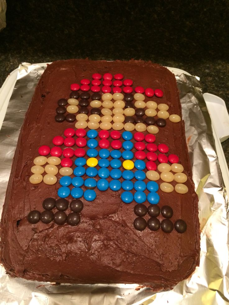 Super Mario cake made with M&M's and jelly beans