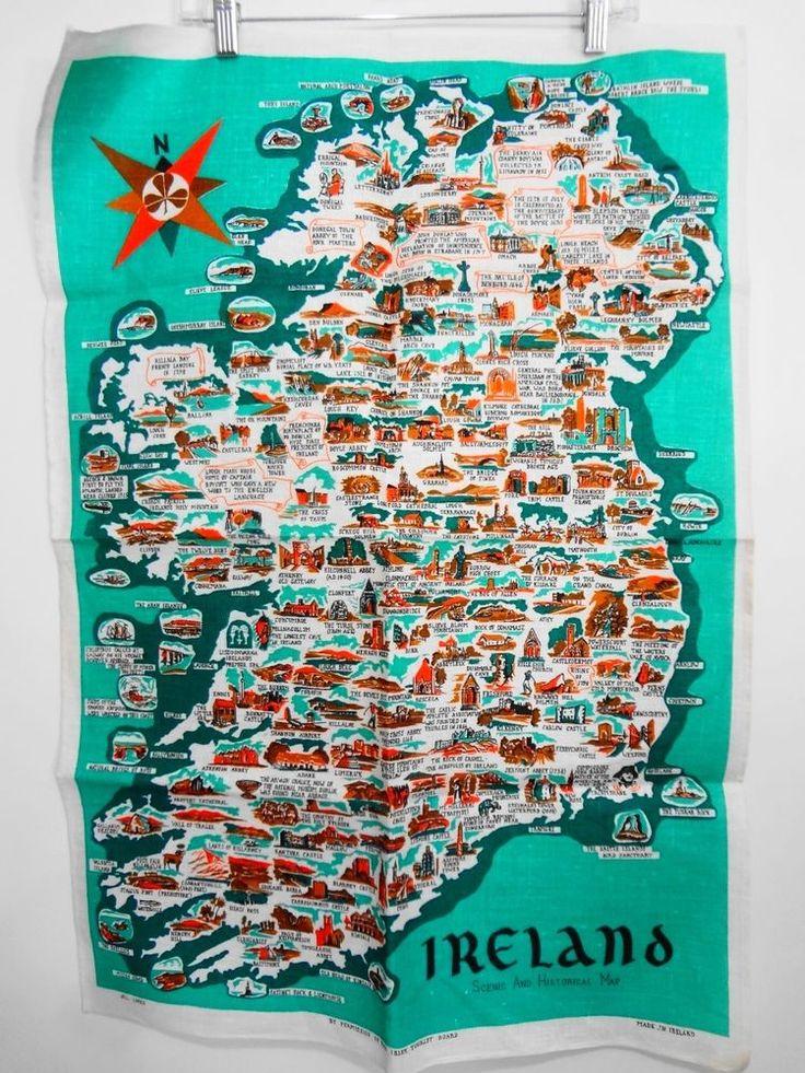 Ireland Scenic Historic Map Pure Irish Linen Teal Tea Towel Irish Tourist Board