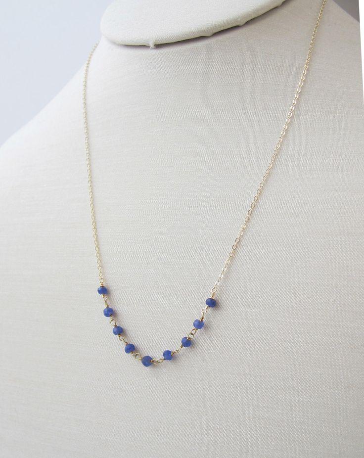 blue sapphire necklace, beaded sapphire necklace, gold chain necklace, sapphire necklace, blue gemstone necklace, precious stone necklace by sticksandstonesny on Etsy https://www.etsy.com/uk/listing/91881787/blue-sapphire-necklace-beaded-sapphire