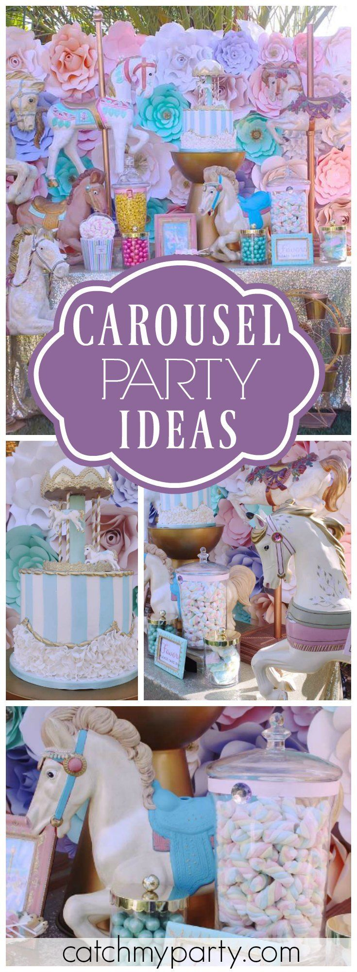 This carousel birthday party has such a pretty paper flower backdrop! See more party ideas at Catchmyparty.com!