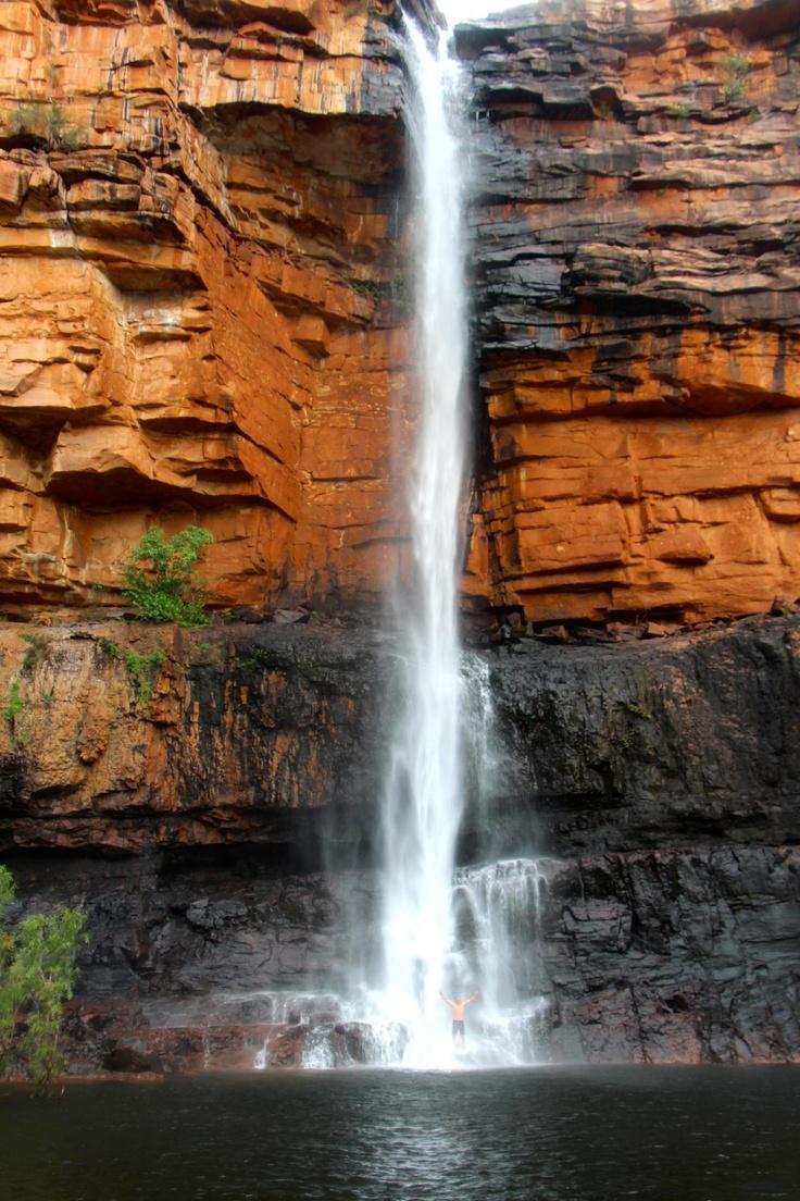 Scotty Kimberley under the falls at Faraway Bay - The Bush Camp , Kununurra, Kimberleys Western Australia