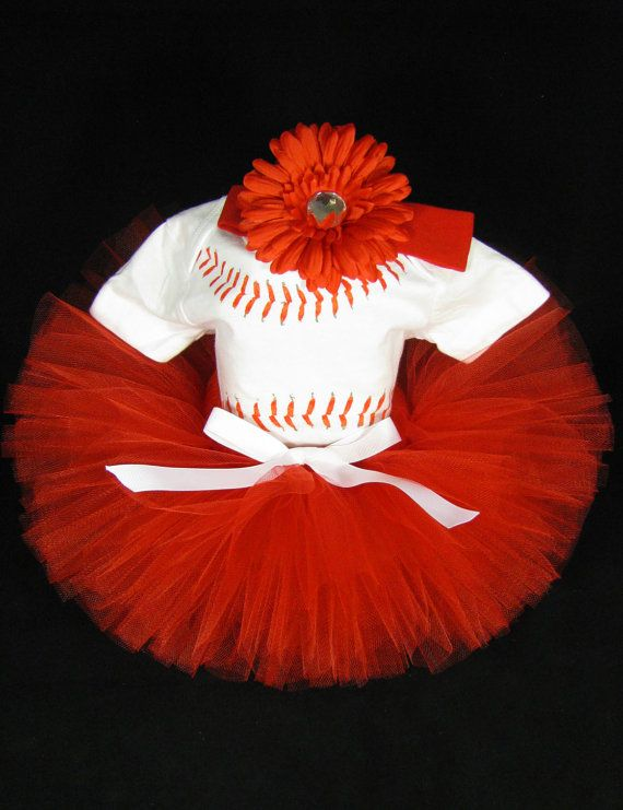 Baby Girl Outfit - Babys Gift Set - Baseball Tutu Outfit - Girls Team Colors Tutu Bodysuit and Headband Set - Size 9-12 Months