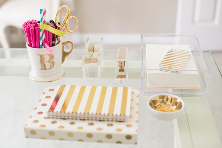 gold desk accessories as seen on @bf4frosting | b is for bonnie design studio | Courtney Dox Photography