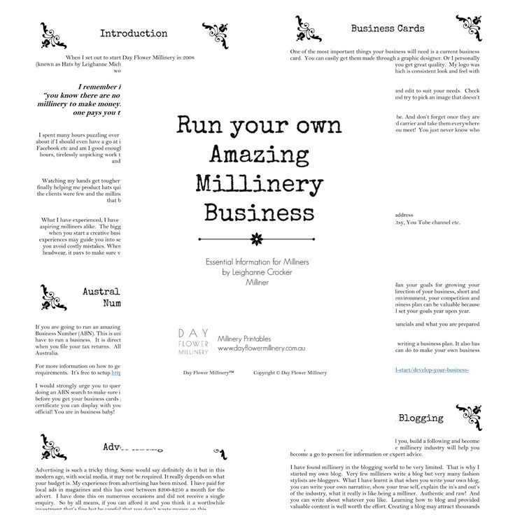 Run your own Amazing Millinery Business Printable by DayFlowerMillinery on Etsy