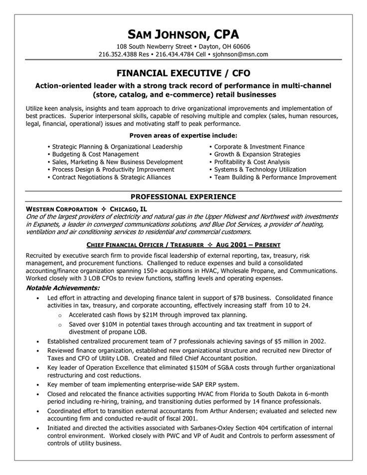 Cfo Resume Templatebillybullock  - chief financial officer resume