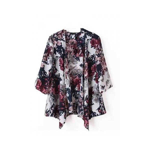 Vintage Women Half Bat Sleeve Floral Printed Loose Cardigan ($7.94) ❤ liked on Polyvore featuring tops, cardigans, newchic, flowers, floral print cardigan, batwing sleeve cardigan, bat sleeve cardigan, loose cardigan and floral tops
