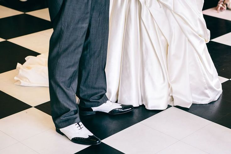 This Art Deco wedding was full of 1920s flair -  The two tone brogues the groom is wearing are a great choice for an Art Deco themed wedding