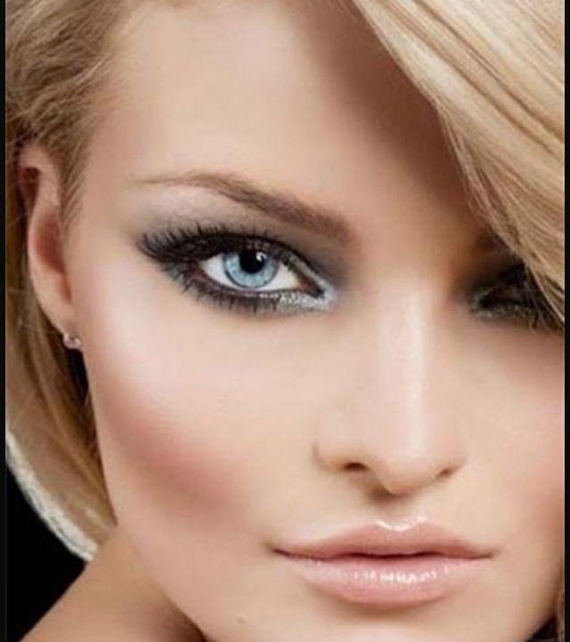 Beautiful make up look, baby pink lips, silver eye shadow, black eyes shadow, blue eyes