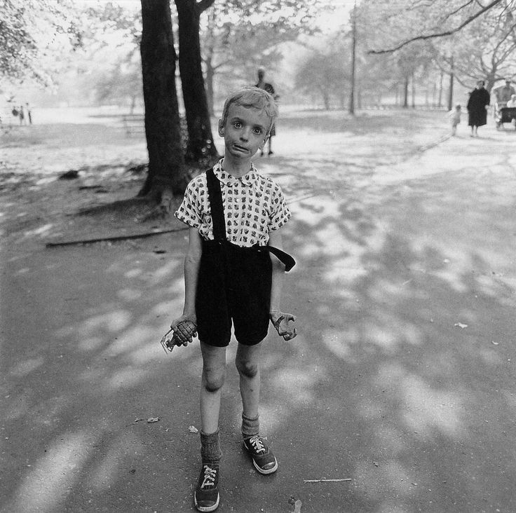 """Diane Arbus """"Child with toy hand grenade in Central Park, NYC (1962) one of my favorites by her"""
