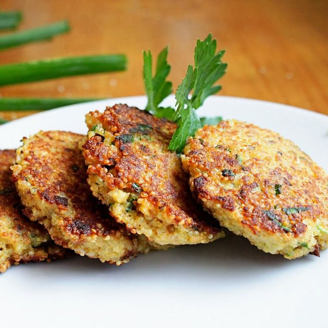 Quinoa Patties with Spring Herbs 2 cups cooked quinoa (about 3/4 c. dry) 2 eggs 2 Tbsp chopped green onion 2 Tbsp chopped mint 2 Tbsp chopped parsley 1/2 c. grated strong cheese – we used an aged sheep's milk cheese 1/2 c. bread crumbs 1/4 tsp salt