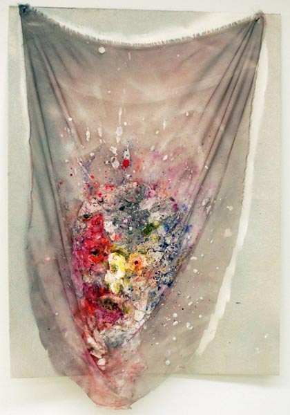 Rachel Niffenegger  Shroud (Anemone Eye)  2011 . Watercolor, acrylic, spray-paint, plaster and mixed media on fabric on paper