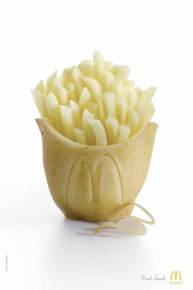 """TBWA (Shanghai) developed this McDonald's ad, featuring fries. The ad utilizes design as a means to communicate several messages to the Chinese consumer (Mooij, 2-14, pg. 222). I noticed there are little words or logos, only """"Real. Good."""" and the signature golden arch. China is a high-context, #ADPR438_COL culture, so the ad includes non-verbal features such as a potato holding the fries to symbolize natural, pure ingredients. Also, the fries are not fried, which shows attention to values."""