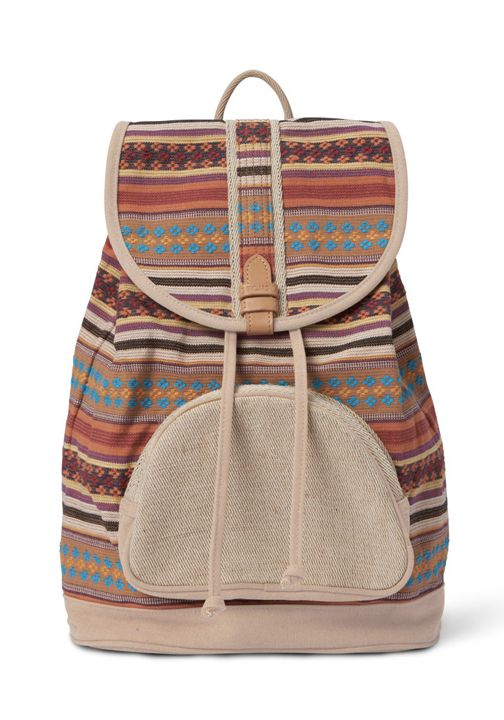Featuring leather trim, a drawstring top and a front zipper pocket, these backpacks are great for any trip.