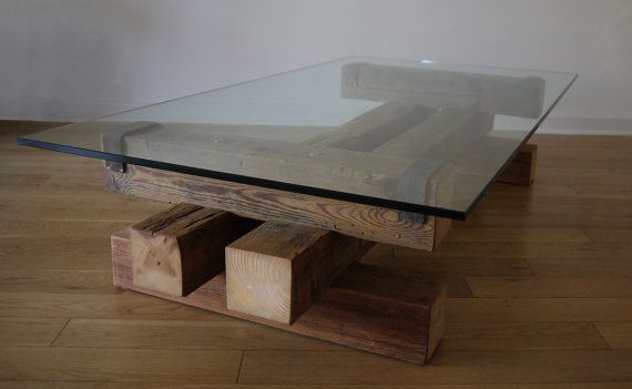 Reclaimed Wood and Glass Coffee Table. Barn Wood Coffee Table. Handmade Coffee Table. Glass Coffee Table