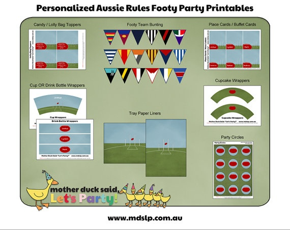 Aussie Rules Footy Party Collection Printable by motherducksaid, $20.00