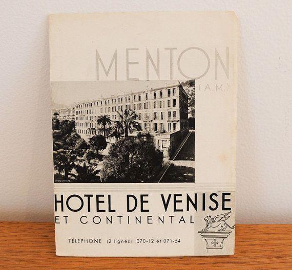 Vintage leaflet for Hotel de Venise in Menton by freshdarling