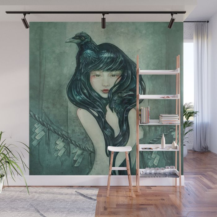 Buy Oracle of the sodden raven Wall Mural by strijkdesign.     Fantasy portrait as mural   home decor