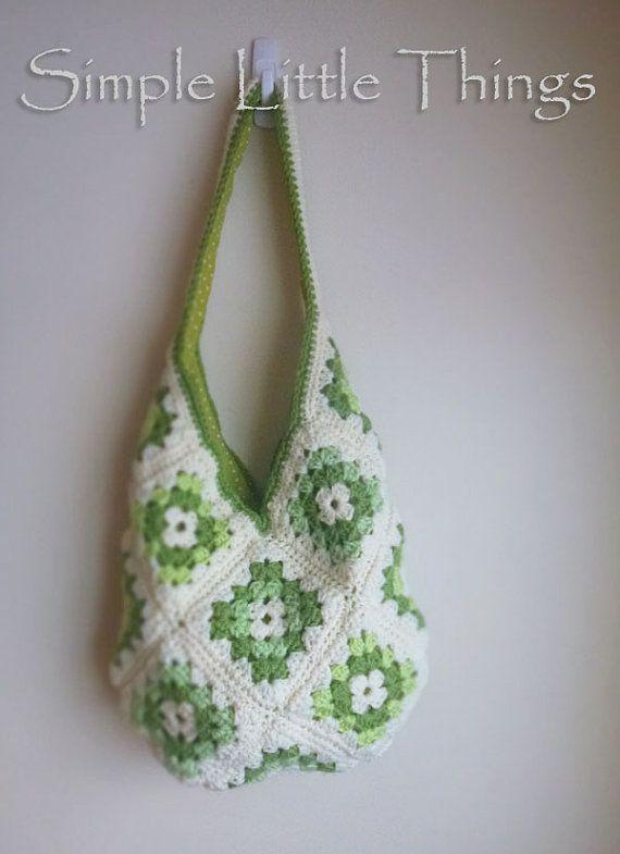 Crochet Granny Square Hobo Bag Pattern : Green Crochet Hobo Bag - Hobo Purse, Granny Squares