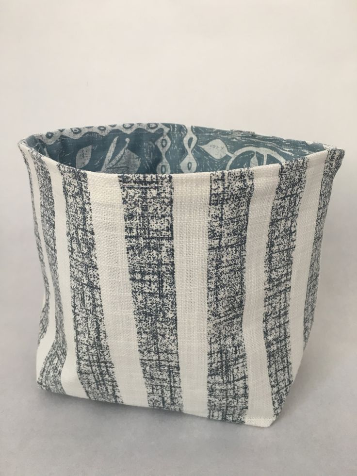 Blue Striped Fabric Bucket by MaradadhiTextiles on Etsy