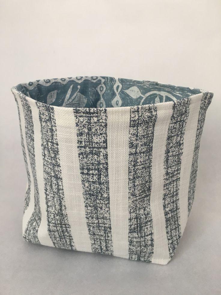 Blue Striped Fabric Bucket by MaradadhiTextiles on Etsy