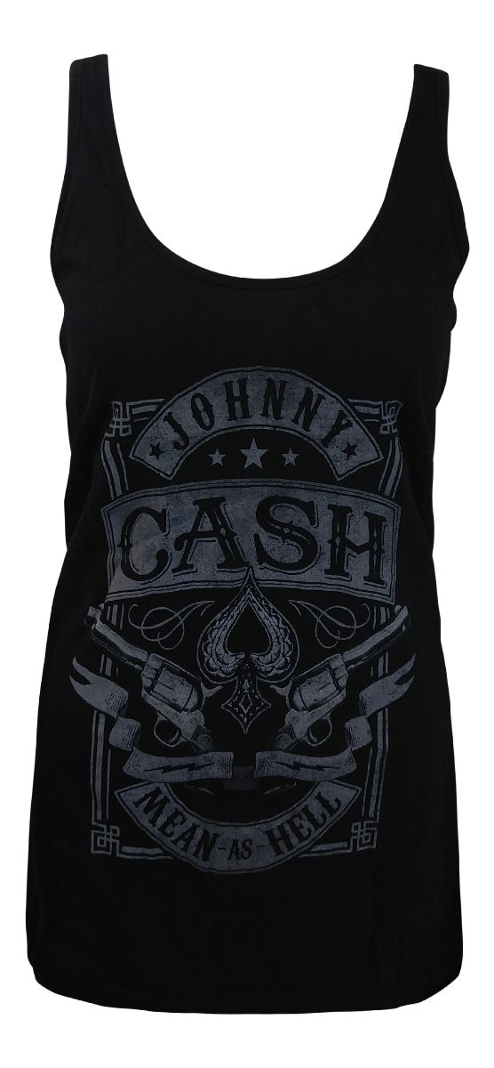 Johnny Cash Mean As Hell Womens Racer Tank T-Shirt - Guaranteed Authentic.  Fast Shipping.