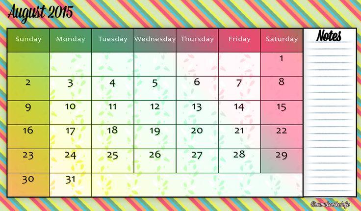 Free Printable August 2015 Calendar Landscape