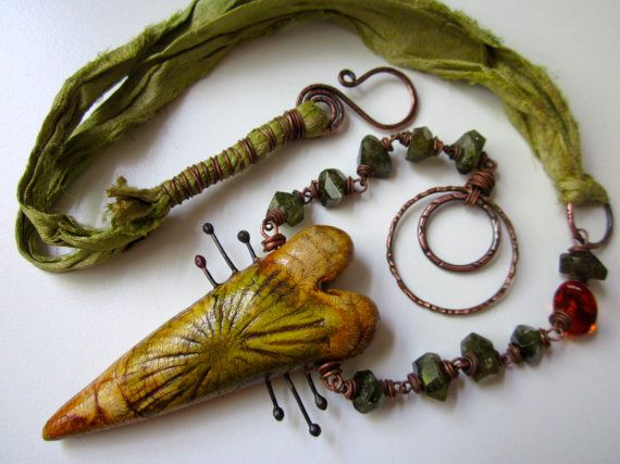 Elegy - primitive amber olive green steampunk polymer clay heart, vessonite stone nuggets, amber, sari silk ribbon, & copper necklace by LoveRoot, $98.00